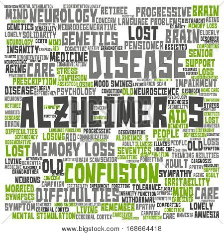 Concept conceptual Alzheimer`s disease symtoms abstract word cloud isolated on background metaphor to care, loss, caregiving, aging, resistance, neurology, old, language, motor or resistance