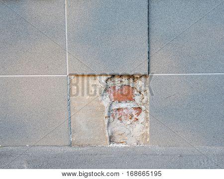 Replace Portions of Broken Porcelain Tile Flooring. Replace Old Bath Tile Floor With New Porcelain Tile
