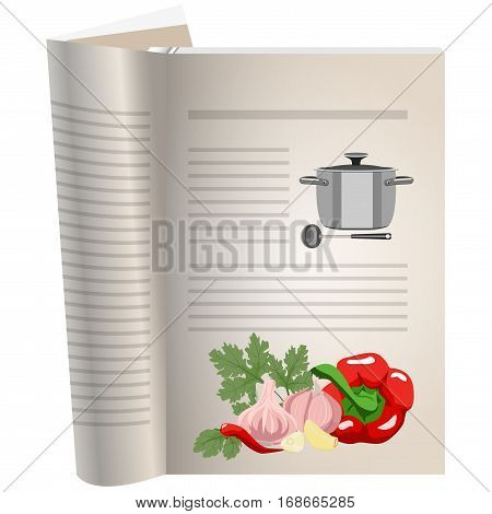 Template pages of a cookbook. You can have there favorite recipes. A set of ingredients for spicy seasonings. Peppers and garlic with parsley. Pan and ladle for soup. The template for the layout of text recipes.