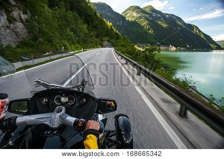 Chronicles of bikers or road adventure. On the way past the lake.