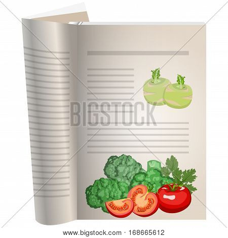 Template pages of a cookbook. You can have there favorite recipes. Still life of vegetables. Broccoli is next to the tomatoes. Tomatoes whole and cut. The template for the layout of text recipes.