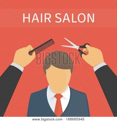 Hair salon vector illustration. Hairdresser making haircut to a client with scissors in beauty saloon. Flat design style. EPS 10.