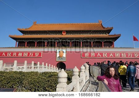 BEIJING - FEBRUARY 23, 2016: Mao Cetung portrait, Entrance of Gate of Heavenly Peace, Imperial Palace on Tiananmen Square. Forbidden city. This is one of the most visited place in Chinese capital