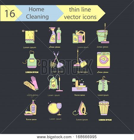 House cleaning color thin line vector logo set. Icons for cleaning companies, laundries and dry cleaners service.