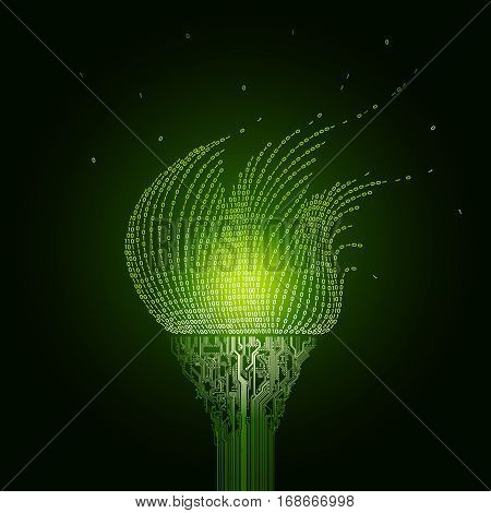 A burning green torch, consists of  printed circuit boards, the flame from the binary code. The artifact of cyberspace