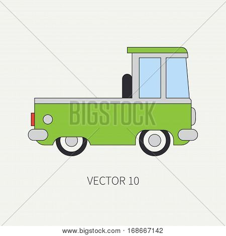 Line flat vector color icon service staff car. Commercial vehicle. Cartoon vintage style. Cargo transportation. Pickup rural truck. Tow auto. Simple. Childly. Van. Illustration and element for design.