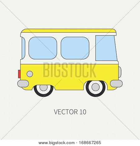 Line flat vector color icon minibus taxi car. Commercial vehicle. Cartoon vintage style. Transportation. Traveling family van. Trip over a long distance. Road. Illustration and element for design.