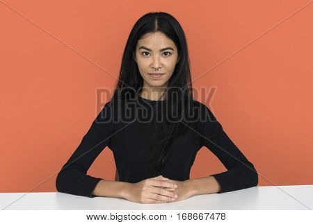 Young woman casual studio portriat in crop-top