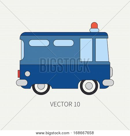 Line flat vector color icon police truck. Special purpose assistance vehicle. Cartoon style. Maintenance. Rescue, security. Police department. Siren van. Law. Illustration and element for design. Car.