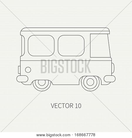 Line flat plain vector icon minibus taxi car. Commercial vehicle. Cartoon vintage style. Transportation. Traveling family van. Trip over a long distance. Road. Illustration and element for design.