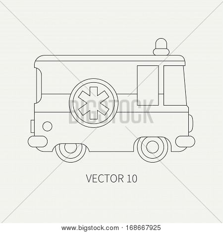 Line flat plain vector icon ambulance car. Emergency assistance vehicle. Cartoon style. Reanimation. Maintenance. Paramedics. Medicine. Hospital. Rescue. Illustration and element for design Road
