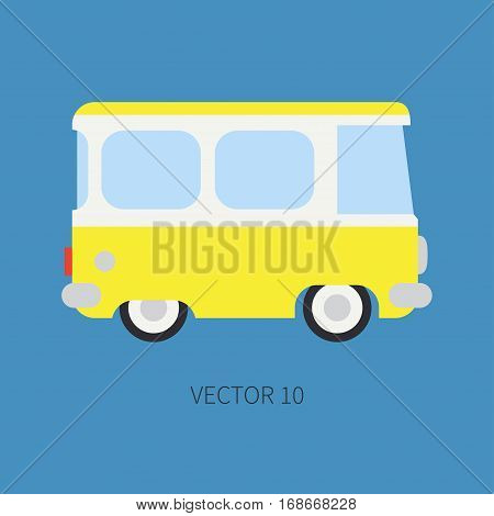 Plain flat vector color icon minibus taxi car. Commercial vehicle. Cartoon vintage style. Transportation. Traveling family van. Trip over long distance. Road. Illustration and element for design.