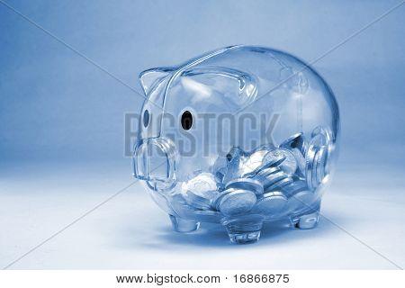 Half-empty moneybox - monochrome photography