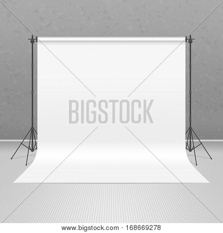 Empty photo studio concept. 3D template mock up in realistic style in gray background. Backdrop stand with white paper. Art Studio interior. Vector illustration EPS10.