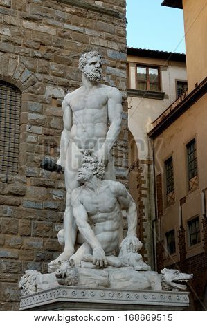 Hercules and Cacus statue standing in front of the Palazzo Vecchio at Piazza della Signoria in Florence Italy.