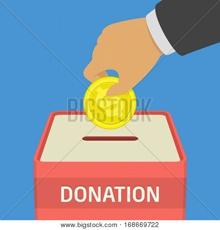 Donate money and charity concept. Human hand with golden coins - vector illustration in flat style design. Man throws gold coin in a box for donations donation.