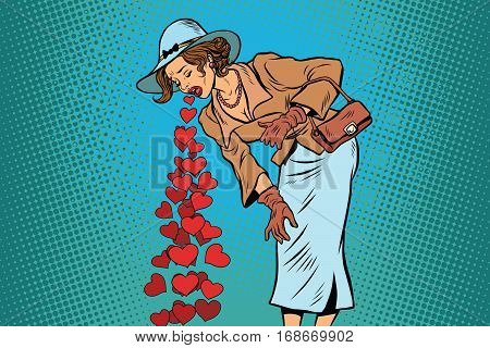 Beautiful retro woman vomiting Valentines heart. Comic pop art illustration vector drawing