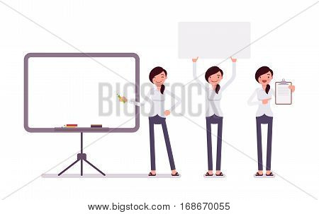 Set of young happy female clerk in formal wear, standing near empty whiteboard, holding frame, paper and poster for copyspace, presentation of information, full length, isolated, white background