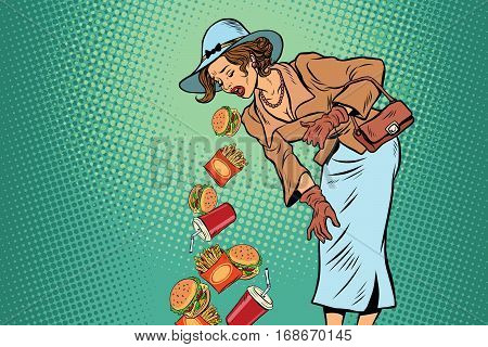 Beautiful retro woman vomiting fast food. Comic pop art illustration vector drawing. Healthy eating