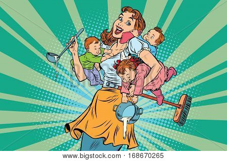 Cheerful mother with three children working and talking on the phone. Comic pop art illustration vector drawing