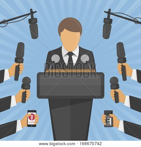 Press conference vector illustration in flat style. Live report, live news concept. Many hands of journalists with microphones, dictaphones and man standing at the rostrum and giving interview.