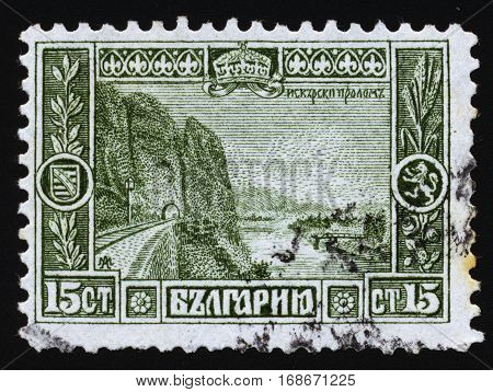BULGARIA - CIRCA 1911: Postage stamps printed in Bulgaria dedicated to The Iskar Gorge at the town of Lyutibrod. The gorge is passing through the Balkan Mountains in Bulgaria. Circa 1911.