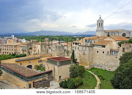 View of the Medieval district of Girona, Spain
