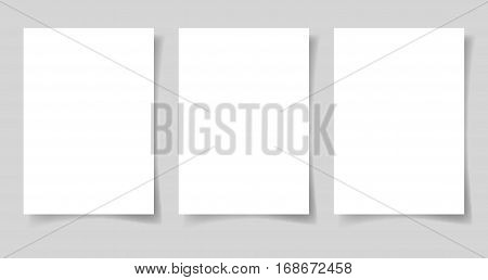 three pieces blank sheet of white paper A4 format with the shadow for your design, vector illustration