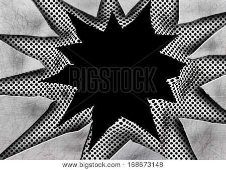 Metal Plate Background With Ragged Holes, Cut Iron, 3D Illustration