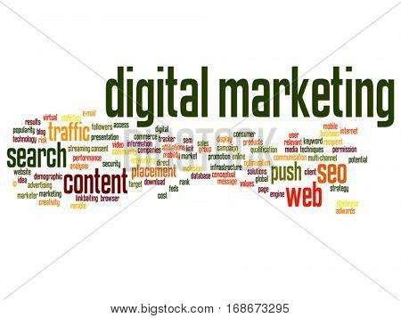 Vector concept or conceptual digital marketing seo or traffic abstract word cloud isolated on background metaphor to business, market, content, search, web, push, placement, communication technology