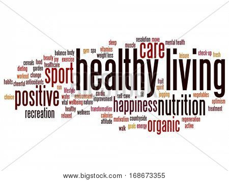 Vector concept conceptual healthy living positive nutrition or sport abstract word cloud isolated on background metaphor to happiness, care, organic, recreation workout, beauty, vital healthcare spa