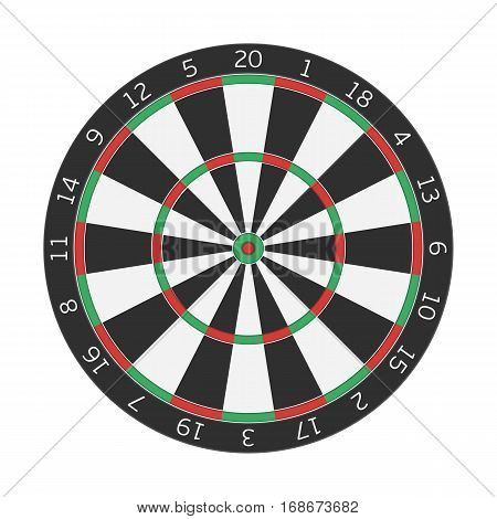 Dart boards in realistic style. Classic Darts Board with twenty black and white sectors. Game concept. Vector illustration EPS10.