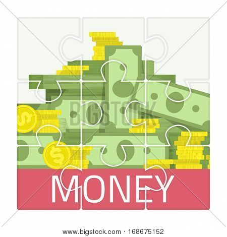 Jigsaw puzzle with picture money vector. Simple Puzzle template on 9 elements. Business concept. Set of mosaic with Money cash and gold coins image texture isolated on white background.