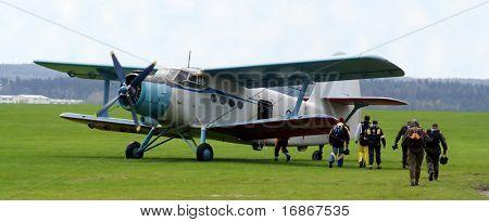 Historic plane paradropper Antonov An-2 in airport Plasy - Czech republic Europe