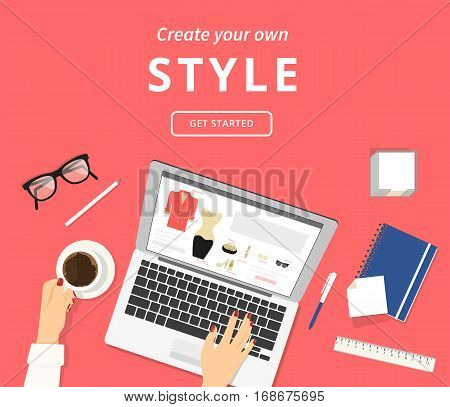 Lazy woman sitting at the desk with laptop and choosing clothes and accessories online. Flat illistration top view of people drinking coffee using laptop and purchasing fashion clothes in networks