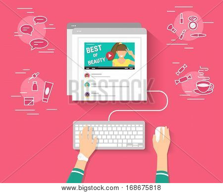 Trend bloger video streaming isolated on red background. Networking and beauty blogging concept illustration of female hands using browser and keyboard watching video and reading comments below