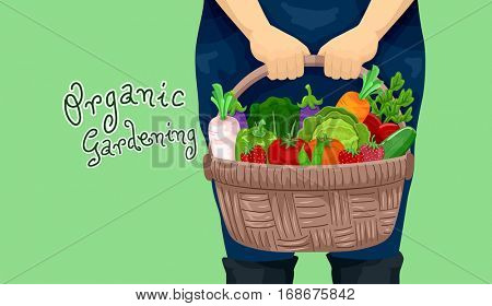Illustration Featuring a Female Gardener Carrying a Basket Full of Freshly Harvested Organic Fruits and Vegetables