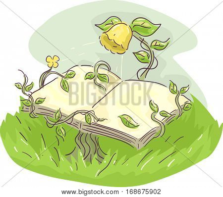 Whimsical Illustration of a Yellow Flower Supporting an Open Book with its Vines