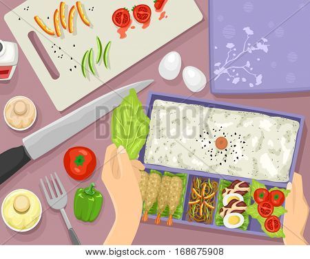 Colorful Illustration Featuring a Woman Preparing a Well Balanced Bento