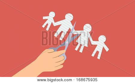 Conceptual Illustration Featuring a Cropped Hand Cutting the Paper Cutout of a Family in Half