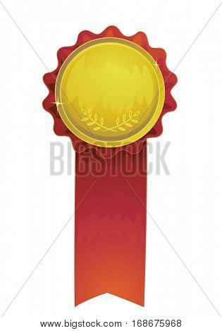 Illustration Featuring an Award Ribbon Made of a Golden Rosette with Red Fringes and a Matching Tail