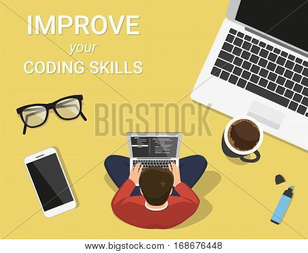 Man is sitting on the table and working with laptop. Flat modern concept illustration of young programmer coding a new project using computer sitting on the work desk with coffee mug and smartphone