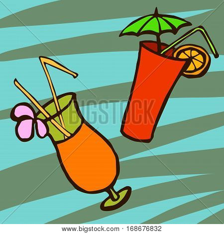 Tropical cocktails in glass, two types, with umbrella, flower and straw poll. Vector illustration isolated on bright background