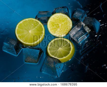 Freshness lime and cristal cube of ice for preparation of