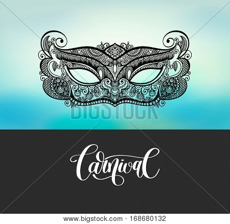black lineart venetian carnival mask silhouette on blured background, vector illustration