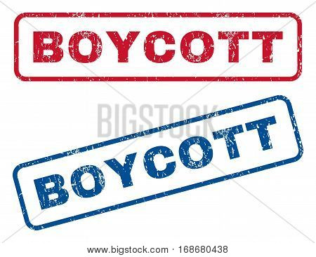 Boycott text rubber seal stamp watermarks. Vector style is blue and red ink tag inside rounded rectangular shape. Grunge design and unclean texture. Blue and red signs.