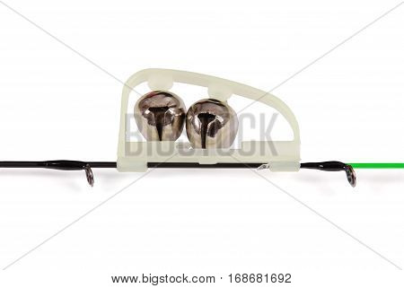 Fishing green LED power indicator (attached to the tip of the feeder) isolated on white background. Clipping path