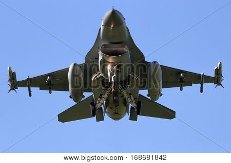Front view of a military fighter plane