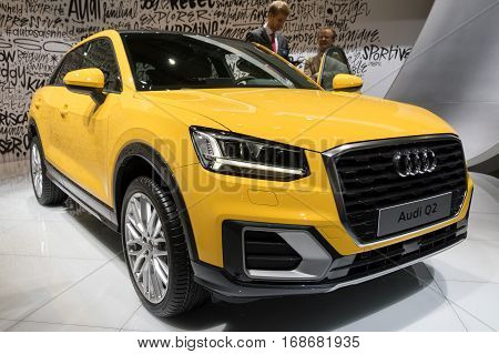 BRUSSELS - JAN 19 2017: Audi Q2 car on display at the Brussels Motor Show.