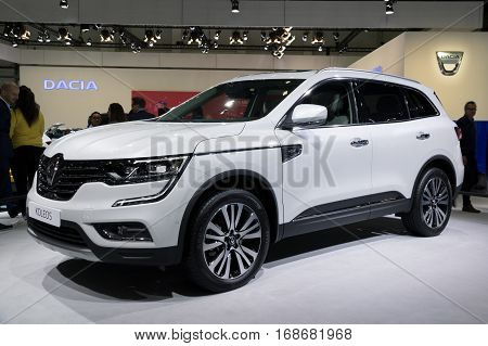 BRUSSELS - JAN 19 2017: Renault Koleos SUV (2016) car on display at the Brussels Motor Show.